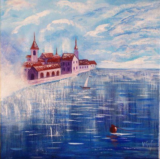 """Пейзаж ручной работы. Ярмарка Мастеров - ручная работа. Купить Картина """"Замок в облаках"""" акрил 30х30см. Handmade. Картина"""