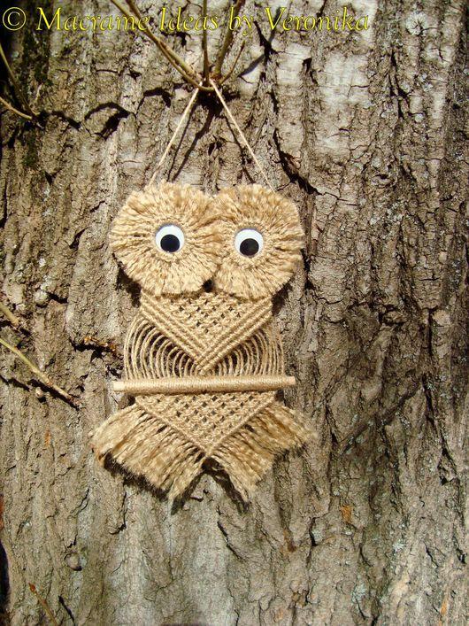 """Животные ручной работы. Ярмарка Мастеров - ручная работа. Купить """"Совёнок Тимоша"""", плетёное панно, макраме. Handmade. Совенок, сова"""