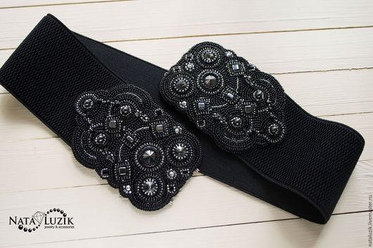 Пояса, ремни ручной работы. Ярмарка Мастеров - ручная работа. Купить Широкий пояс резинка вышитый черный серебристый пояс на платье. Handmade.