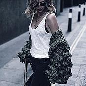Одежда handmade. Livemaster - original item Fashionable cardigan with voluminous sleeves khaki for autumn. Handmade.