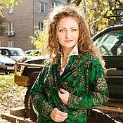 Одежда ручной работы. Ярмарка Мастеров - ручная работа Легкий кардиган из лодена с принтом -зеленый. Handmade.