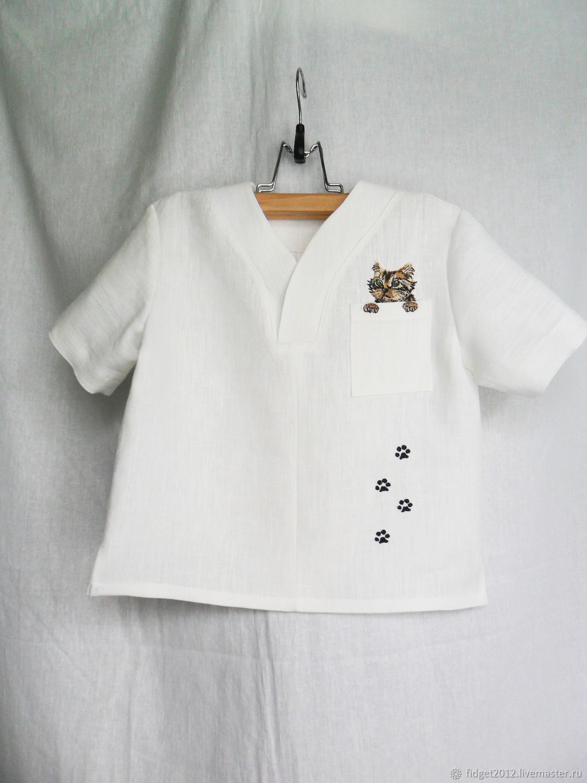 Short sleeve shirt for boy White children's linen shirt, Blouses and shirts, Bakhmut,  Фото №1