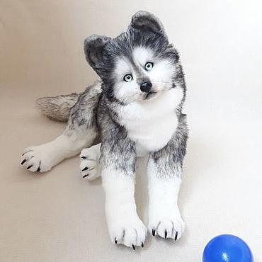 Куклы и игрушки ручной работы. Ярмарка Мастеров - ручная работа Тедди щенок Хаски. Handmade.