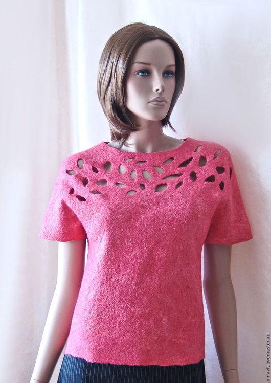 """Блузки ручной работы. Ярмарка Мастеров - ручная работа. Купить Блузка валяная"""" Коралловая"""". Handmade. Блузка валяная, блузка из войлока"""