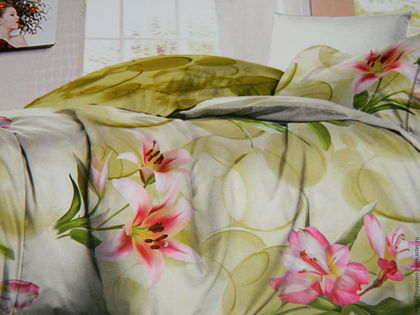 """Текстиль, ковры ручной работы. Ярмарка Мастеров - ручная работа. Купить Постельное белье из сатина """"Русалки"""". Handmade. Розовый"""