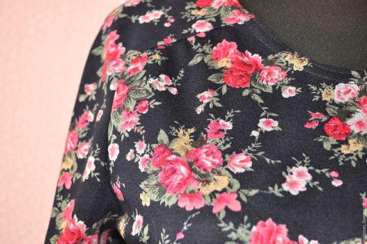 Платья ручной работы. Ярмарка Мастеров - ручная работа. Купить Платье из джерси с розочками. Handmade. Черный, трикотаж