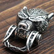 Замок для браслета ГОЛОВА МЕДВЕДЯ с древнеРусским узором серебро  925