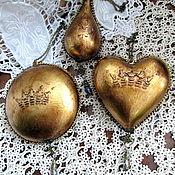 "Christmas decorations handmade. Livemaster - original item Набор  елочных украшений ""Винтажное золото"". Handmade."