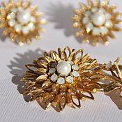 Винтаж handmade. Livemaster - original item Vintage Swarovski gold chrysanthemum set.( Swarovski REG.267). Handmade.