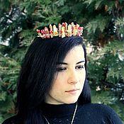 handmade. Livemaster - original item Crown Tiara hair band with crystals decoration red. Handmade.