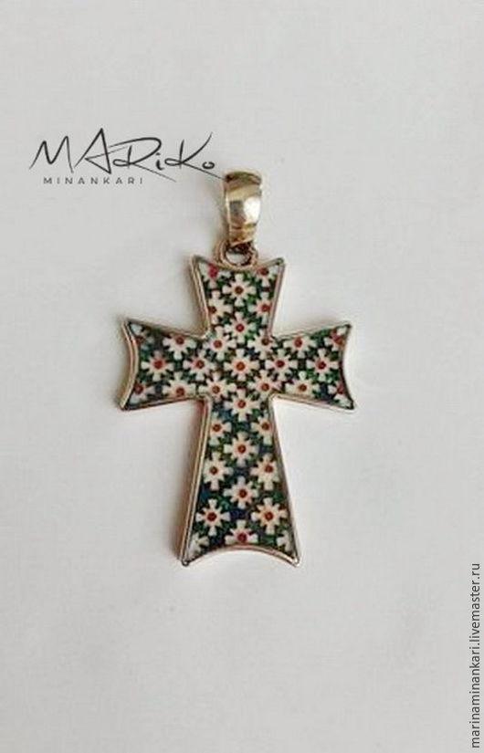 Кулоны, подвески ручной работы. Ярмарка Мастеров - ручная работа. Купить Крест  с перегородчатой эмалью Золото 585 пробы. Handmade.
