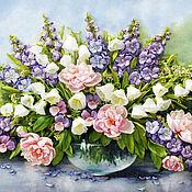 Картины и панно handmade. Livemaster - original item Bouquet with delphinium and bluebells. Handmade.