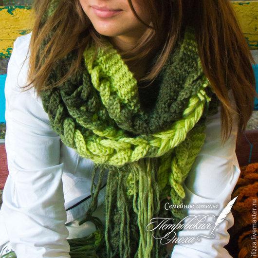 Комплекты аксессуаров ручной работы. Ярмарка Мастеров - ручная работа. Купить Шарф «Теплая осень» салатовый-зелёный. Handmade. Зима