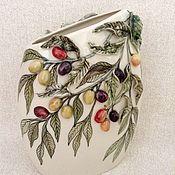 """Для дома и интерьера ручной работы. Ярмарка Мастеров - ручная работа Ваза плоская """" Оливки """" лепка. Handmade."""