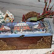 """Короб для шампанского или вина """" Рождественский вечер """" декупаж, декор"""