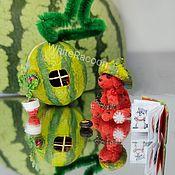 Куклы и игрушки handmade. Livemaster - original item Miniature: watermelon dog in a watermelon nut. Handmade.