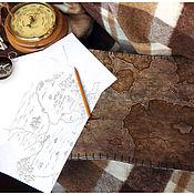 """Для дома и интерьера ручной работы. Ярмарка Мастеров - ручная работа Столик-поднос """"Карта"""", светлый.. Handmade."""