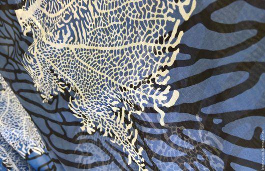 """Шитье ручной работы. Ярмарка Мастеров - ручная работа. Купить Итальянский шелковый шифон """"Тайны морских глубин"""". Handmade. Голубой"""