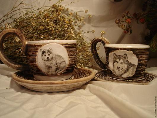 """Сервизы, чайные пары ручной работы. Ярмарка Мастеров - ручная работа. Купить Керамическая чайная пара """"Аляска"""". Handmade. Коричневый"""