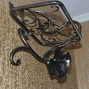 Для дома и интерьера handmade. Livemaster - original item Wrought iron wall shelf with flower. Handmade.