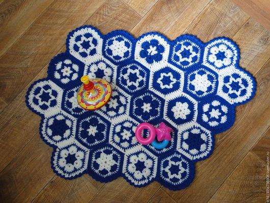 Текстиль, ковры ручной работы. Ярмарка Мастеров - ручная работа. Купить Коврик из мотивов. Handmade. Тёмно-синий