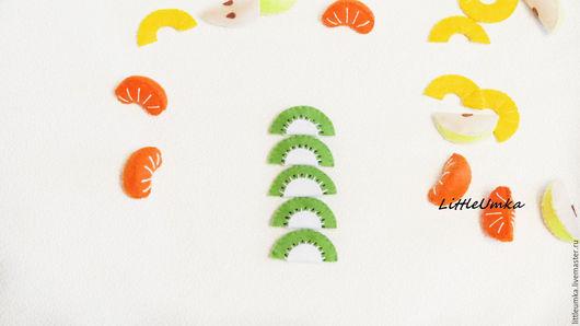 Еда ручной работы. Ярмарка Мастеров - ручная работа. Купить Кукольная еда. Набор фруктов дольками.. Handmade. Зеленый, еда
