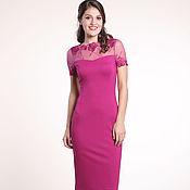 Одежда ручной работы. Ярмарка Мастеров - ручная работа 148:Платье футляр с кружевом, облегающее платье фуксия. Handmade.