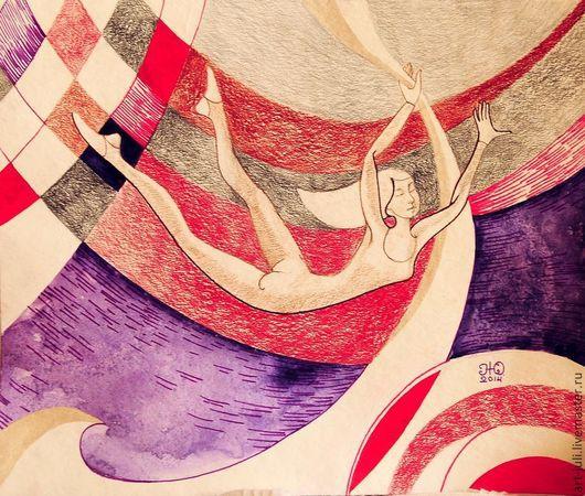 """Люди, ручной работы. Ярмарка Мастеров - ручная работа. Купить две картины """"Воздушные гимнасты"""" гимнастка. Handmade. Фиолетовый"""