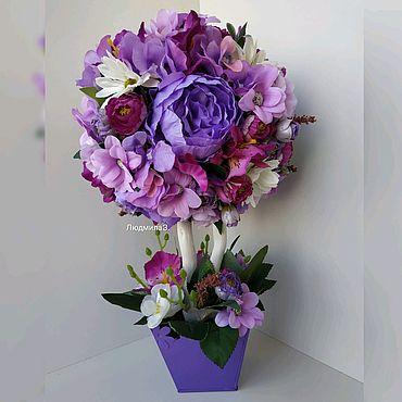 """Цветы и флористика ручной работы. Ярмарка Мастеров - ручная работа Топиарий """"Яркий фиолет"""". Handmade."""
