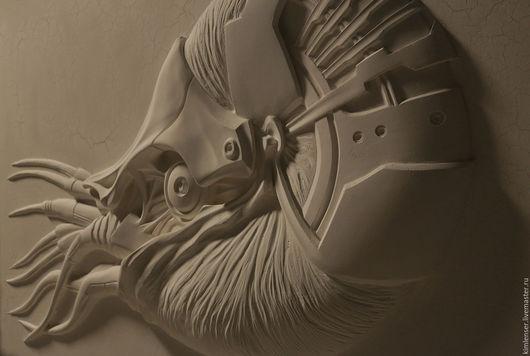 Элементы интерьера ручной работы. Ярмарка Мастеров - ручная работа. Купить Nautilus mechanikus. Handmade. Белый, барельеф панно