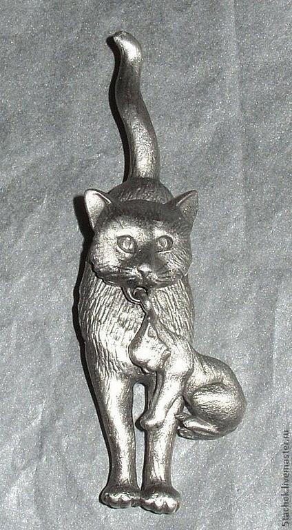 """Винтажные украшения. Ярмарка Мастеров - ручная работа. Купить Брошь """"Кошечка и котенок"""" под олово (JJ США). Handmade. Брошь"""