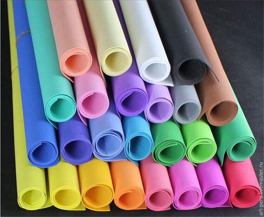 Фоамиран ручной работы. Ярмарка Мастеров - ручная работа. Купить Фоамиран корейский 30х20 см , фом эва, пластичная замша, разные цвета. Handmade.