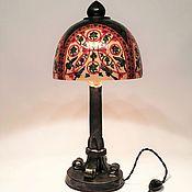 Для дома и интерьера handmade. Livemaster - original item Table lamp made of wood, ceramics and copper painted in the Russian style. Handmade.