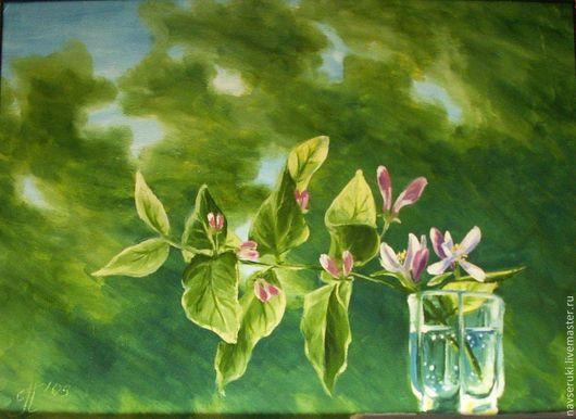 Картины цветов ручной работы. Ярмарка Мастеров - ручная работа. Купить Ветка жимолости в ветреный день. Handmade. Зеленый, картина