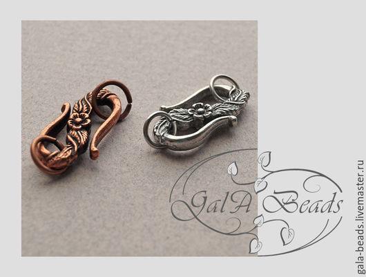 Для украшений ручной работы. Ярмарка Мастеров - ручная работа. Купить Застёжка - крючок S-образная цветочный узор серебро  медь бронза. Handmade.