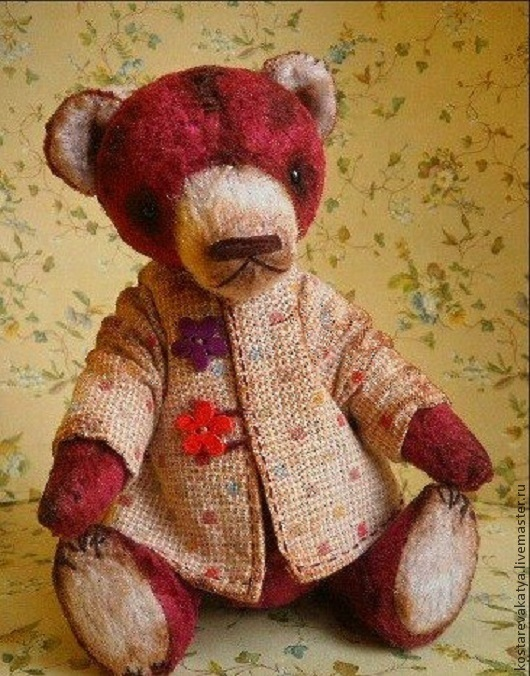 Мишки Тедди ручной работы. Ярмарка Мастеров - ручная работа. Купить Прошка. Handmade. Бордовый, мишка ручной работы