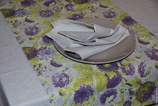 Текстиль, ковры ручной работы. Ярмарка Мастеров - ручная работа. Купить Дорожка льняная с фиолетовыми цветами. Handmade. Серый