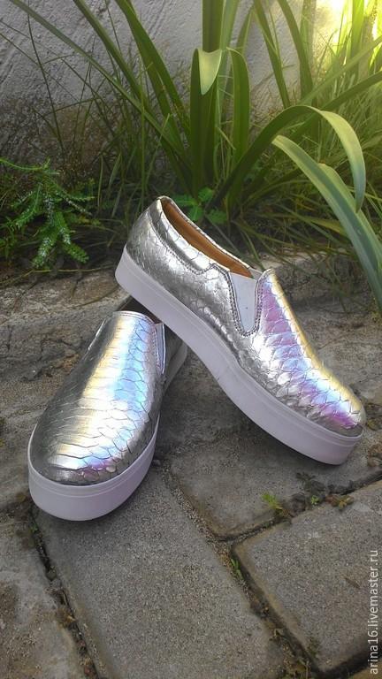 Обувь ручной работы. Ярмарка Мастеров - ручная работа. Купить Хит! Слипоны Silver. Handmade. Серый, слипоны из питона, кеды