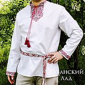 Русский стиль handmade. Livemaster - original item Embroidered mens shirt