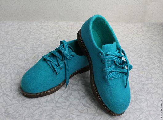 Обувь ручной работы. Ярмарка Мастеров - ручная работа. Купить Туфли  валяные  Бирюза. Handmade. Тёмно-бирюзовый, 100% шерсть