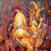 handmade. Livemaster - original item Oil painting on canvas. Cash Golden Rooster. The year of the rooster.. Handmade.