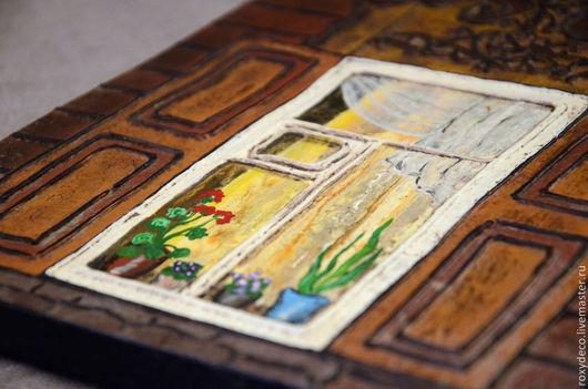 Этно ручной работы. Ярмарка Мастеров - ручная работа. Купить Старинные иркутские окна. Настенное панно.. Handmade. Коричневый, воск