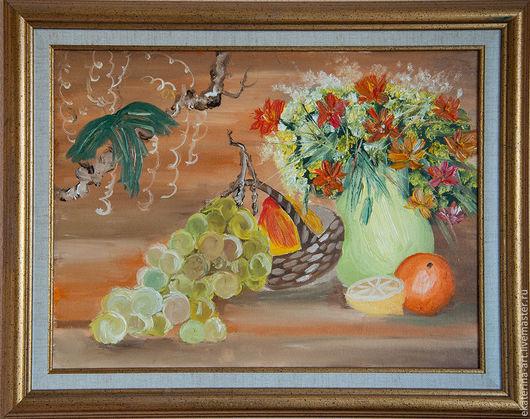Натюрморт ручной работы. Ярмарка Мастеров - ручная работа. Купить Светлый натюрморт. Handmade. Рыжий, натюрморт, цветы, фрукты, виноград