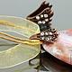 Бейл зажимной Лист из латуни с медным покрытием и вклеенными ювелирными стразами для крепления кулонов толщиной до 8 мм