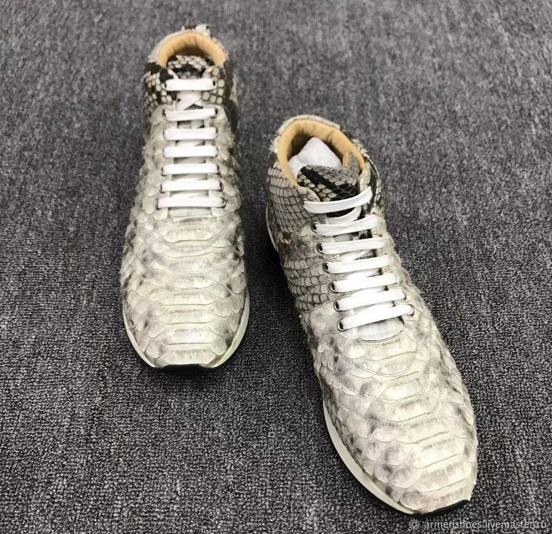 Shoes is too high, Python skin in natural color, Sneakers, Tosno,  Фото №1