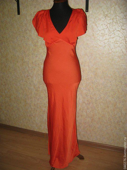 Шикарное платье в пол `Закат в Сахаре`, Румыния, натуральный шелк, размер 42-44, новое, с красивым вырезом на спине. Вы будете королевой вечера в этом платье.