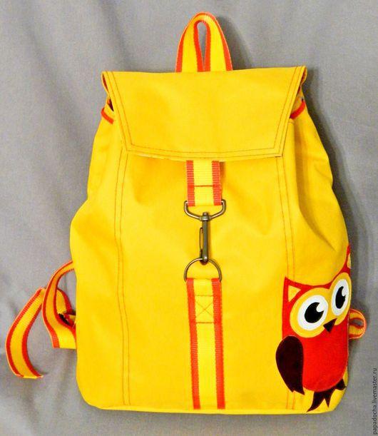 """Рюкзаки ручной работы. Ярмарка Мастеров - ручная работа. Купить Рюкзак """"Сова"""". Handmade. Желтый, сова, рюкзак, совушка"""
