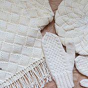 Аксессуары ручной работы. Ярмарка Мастеров - ручная работа Берет, варежки и большой шарф с бахромой. Handmade.