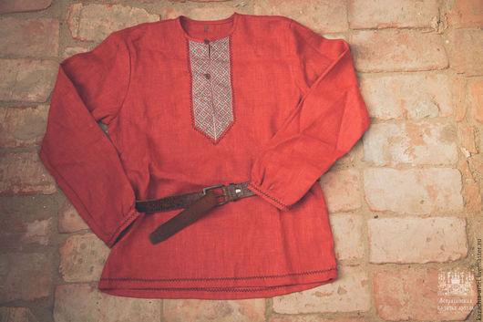 Одежда ручной работы. Ярмарка Мастеров - ручная работа. Купить Рубаха мужская красного льна. Handmade. Ярко-красный