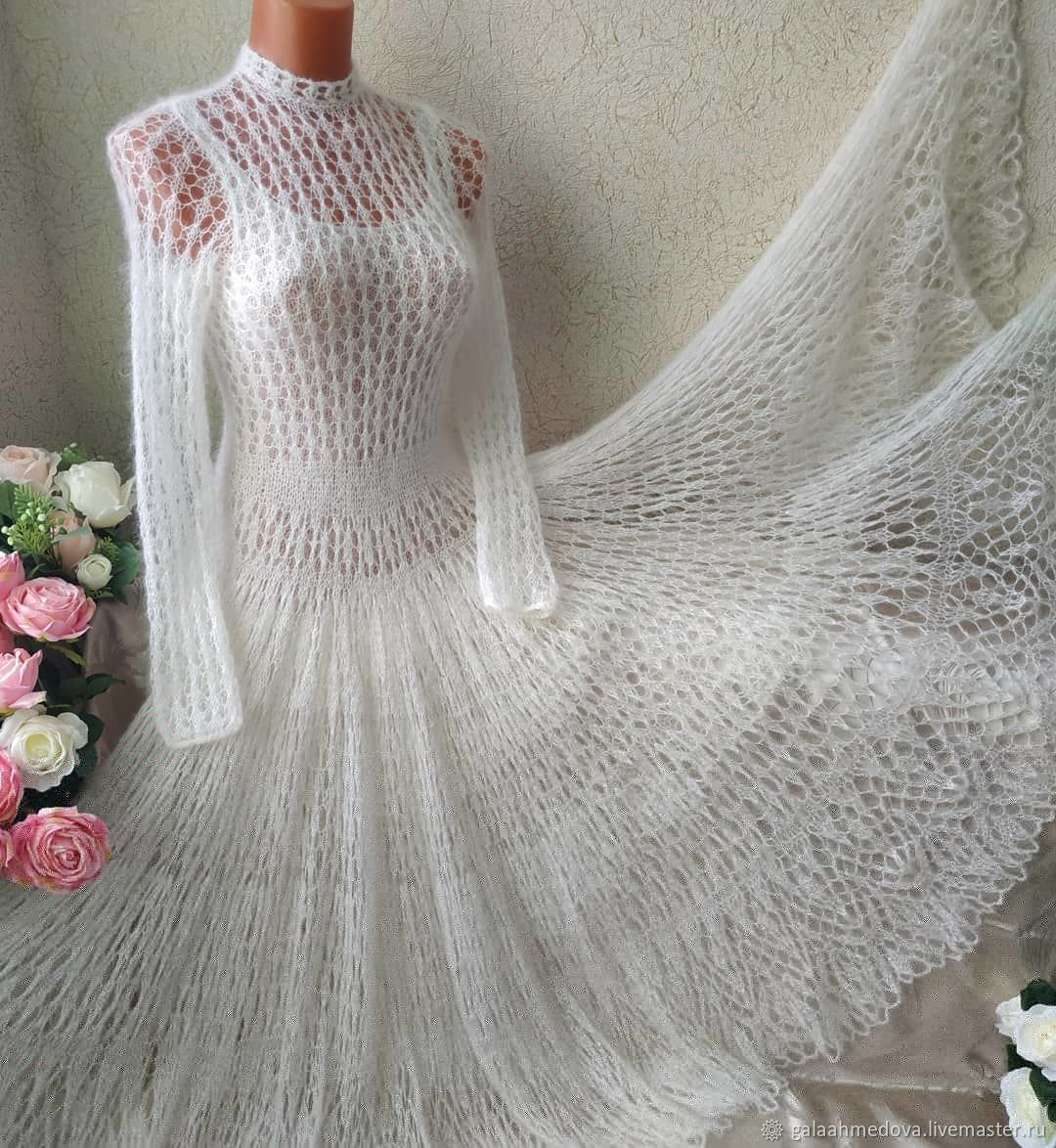 Handmade knitted openwork dress 'Bride-2' , Dresses, Dmitrov,  Фото №1